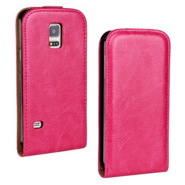 Funda mini s5 online-Venta al por mayor nueva llegada Crazy Horse cuero Flip Case para Samsung Galaxy S5 Mini con abrir y bajar la caja del teléfono envío gratis