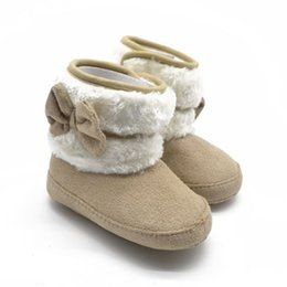 Wholesale Winter Woolen Shoes - Wholesale- Toddler Kids Winter Woolen Snow Boots Bowknot Infant Soft Sole Baby Shoes Best