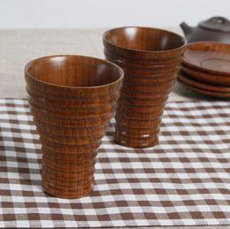 Wholesale wooden coffee mugs - Wood Milk Cup Screw Thread Mug Solid Wooden Tea Milk Coffee Children Eco Water Shower Cups 100pcs LJJO3545