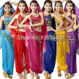 Wholesale Dance Pants For Women - Girls Bollywood Dance Costumes Indian Belly Dance Costumes chinese folk dance Pants And Top 2pieces Bra Set For Women