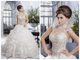 Wholesale Sheer Sparkle Wedding Dress - 2015 Newest Design Luxury Sparkling Wedding Dress Dubai Lace Beads Ruffles Removable Beading High Neck Bridal Dress Gowns VESTIDOS DE NOIVA