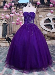 Wholesale Black Purple Quinceanera Dress - 2015 New Sexy Ball Gown Purple Quinceanera Dresses Organza Beading Floor Length Sweet 16 Dress WD187