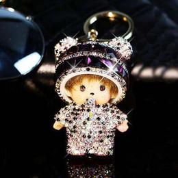 Wholesale Cute Big Rings - New BIG MONCHHICHI birthday gift keychain lovely doll pendant key ring gift for girl friend woman cute bag charm key chains car keyring