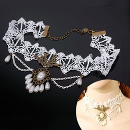 Wholesale Gothic Victorian Fashion - Wholesale-Handmade Gothic Retro Victorian Fashion Necklaces For Women 2015 Elegant Lace Collar Choker Pendant Necklace HITM #60385