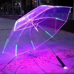 Wholesale Blade Change - New 8 Rib Light up Blade Runner Style Changing Color LED Umbrella with Flashlight Transparent Handle Straight Umbrella Parasol