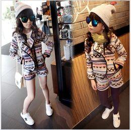 Wholesale Girls Woolen Suits - Girls Autumn Clothes Sets Outfits 2015 Children Long Sleeve Zipper Cardigan Coats+Shorts 2pcs Kids Clothing Fashion Cute Girl Casual Suit