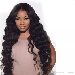 Wholesale wig long black - Best Quality Simulation Human Hair Wigs long loose Wave Full wigs for black women in stock