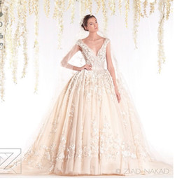 Wholesale Muslim Wedding Gowns Flowers - Designer Ziad Nakad V Neck Wedding Dresses 2016 Ball Gown Spring Lace Appliques Pearls Bridal Gowns Custom Made