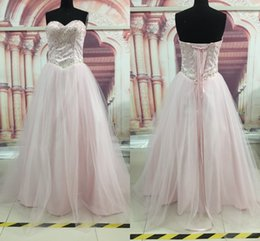 Wholesale Crystal Top Prom Dresses - Light Pink Beaded Crystals Fashion Top Quality Ball Gown Quinceanera Dresses Sweetheart Neckline Party Prom Dresses