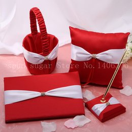 Wholesale Silk Wedding Guest Book - Wholesale-2015 Wedding Ceremony Accessories Red Cloth White Silk Rhinestone Basket Garter Guest Book Pen Set Ring Pillow Free Shipping