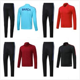 Wholesale Tracksuits Jacket Pants - 2017 messi soccer tracksuit 0.DEMBELE black 17 18 survetement SUAREZ football training suit top and long SUAREZ pants Sportsw Jacket