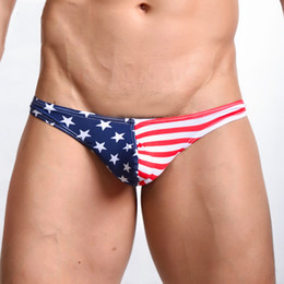 Wholesale Men Mini Brief - Classic American Flag Man Sexy Cotton Mini Briefs Underwear Gay Bulge Enhancing Penis Pouch Panties Men's Briefs Low Waist Underpants