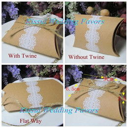 Wholesale kraft pillow - 2016 Unique Lace Candy box of Kraft Pillow favor box for Wedding and Party decoration gift box with lace design (100PCS LOT) Paper box