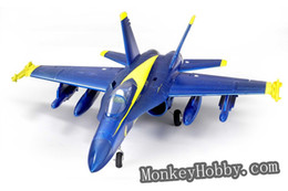 Wholesale Ducted Fan Rc Jets - Wholesale-FMS RC plane F18 Hornet 64mm Electric Ducted Fan RTF Jet + 2.4ghz Radio System blue