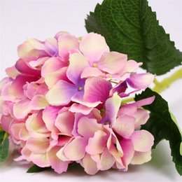 Wholesale cheap fake flowers for weddings - 24pcs Fake flower hydrangea for wedding decoration pink blue white pink with purple cheap silk artificial hydrangea flower