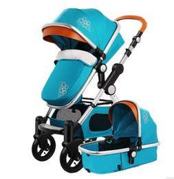 blaue wiege Rabatt Neuestes Aluminiumlegierungs-Rahmen-kakifarbiges Rot-Blau-Purpur kann sitzen und liegen Baby-Spaziergänger mit 2 in 1 Funktion Cradle Plum Auto und reparierte Armlehnen