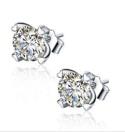 Wholesale New Arrivals Silver Korea - New Arrival 925 Sterling Silver CZ Korea Europe really heart-shaped earrings hypoallergenic fashion ear jewelry