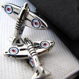 Wholesale Zero Fighter Freeship - Zero Fighter Airplane Cufflinks Enamel Paint Cuff Link Silver Plated Man Accessories for Shirt cf401
