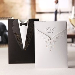 Wholesale Tuxedo Card Invitations - Wholesale-Tuxedo & Dress Bride & Groom Design Wedding Invitations Cards Customizing and Printing (Set of 50) Free Shipping
