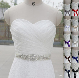 Wholesale Sashes For Bridal Dresses - Best Selling shiny crystal beaded white long satin wedding dress belt wedding accessories bridal sashes Bow Back belt for bride