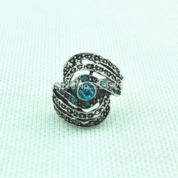 Wholesale Alloy Antique Rings Adjustable - R005 Blue Crystal Adjustable Ring Rhinestone Vintage Look Tibet Alloy Antique Silver Craft Gift Women Free Size Ring