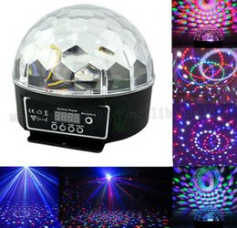 Wholesale Dmx Mix - 20W DMX Voice Activated RGB LED Crystal Magic Ball Laser Effect Light For Disco DJ Party Bar KTV Christmas Show 6 Mix Colors MYY