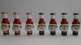 Cigarro eletrônico plano on-line-510 dicas de gotejamento de Natal Papai Noel ponta cabeça cigarro eletrônico cobre bocal de vidro de metal plana para 510 atomizador