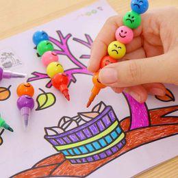 Fumetti di smiley online-7 Color WaterColor Brush Smiley Cartoon Penne Matita Marcatori Giocattoli per bambini Regali emoji Pastelli ad acquerello spedizione gratuita