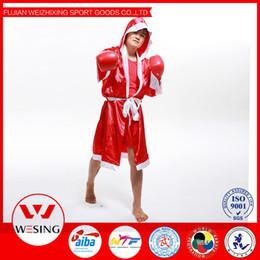 Wholesale uniform cloaks - Wholesale-Wesing red man boxing uniform clothing muay thai kick boxing cloak boxing robe