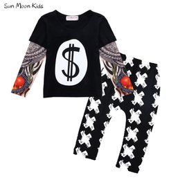 Wholesale Long Sleeves Tattoo Clothing - Wholesale- Sun Moon Kids Boys Clothes Tattoo Sleeves T-shirt + Pants Boys Clothing Sets Baby Boys Girls Clothes Children Autumn Costumes