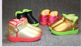 2016 Nouveau hiver enfants bottes mode enfants plat bottes de neige avec chaud en peluche hiver pu chaussures en cuir unisexe Filles Bottes ? partir de fabricateur