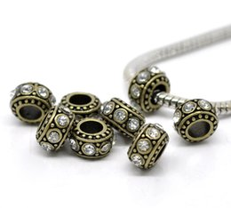 Wholesale Cap Express - Wholesale-10 Bronze Tone Clear Rhinestone European Spacer Beads 11x5.8mm Over $120 Free Express