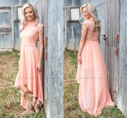 Wholesale High Neck Sleeveless Tops - Peach Country Style Bridesmaid Dresses 2018 High Neck Lace Top Open Back High Low Maid of Honor Beach Wedding Guest Gowns Cheap Customized