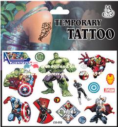 Livraison gratuite 30 pcs / lot Avengers imperméable autocollants de tatouage, merveille ironman capitaine hulk, Party Supplies enfants cadeaux jouets garçons enfant JIA030 ? partir de fabricateur