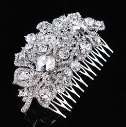 Wholesale Elegant Wedding Bridal Jewelry Headpiece - 3.9 Inch Vintage Silver Tone Elegant Bridal Hair Comb Headpiece Jewelry Wedding Hair Decoration Accessory