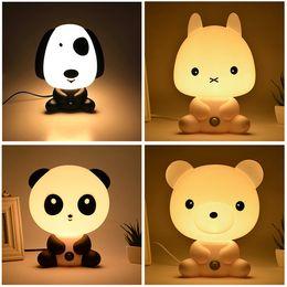 Wholesale Cute Desk Light - Pretty Cute Panda Bear Cartoon Animal Night Light Baby Room Sleeping Light Bedroom Desk Lamp Night Lamp Best for Gifts