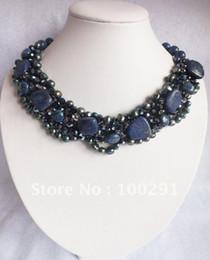 Wholesale Lapis Pearl Jewelry - Wholesale-Amazing blue lapis lazuli & freshwater pearl flower necklace wedding jewelry party necklace holiday gift   Free ship