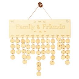 Diy regalos para amigos online-Calendario de cumpleaños de madera Tablero DIY Familia Amigos Calendario de Cumpleaños Signo Fechas Especiales Planificador Tablero Colgando Decoración Regalo