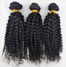 Wholesale Indian Curly Hair For Sell - Hot selling virgin brazilian human hair weaves afro curl natural color brazilian human hair extensions 3pcs lot for black women