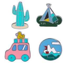Wholesale camping plates wholesale - Retro Travel Cars with Duck Tent Cactus Lapel Pin Enamel Brooch Denim Jacket Badge Funny Camping Pin for Women Girl Boys Kids
