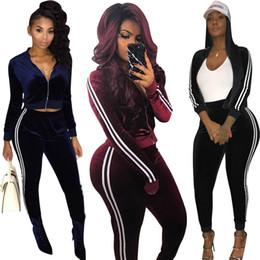 Wholesale hot swim shorts women - 2018 Hot Sale Velvet Women Sport Tracksuits Two Pieces Zipper Long Sleeves Pockets Coat and Long Pants Sets Blue Black Burgundy High Quality