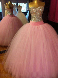 Wholesale Cheap Quinceanera Ball Gown - Actual Image Elegant Hot Pink Crystal Cheap Vestidos De 15 Anos Formal Luxury Vestidos De Quinceanera Dresses Ball Gown Tulle Prom 2016