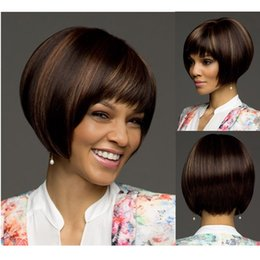 Wholesale Short Wigs For Women Blonde - Fantastic nice piano color black and blonde short straight bob synthetic hair wigs for black women