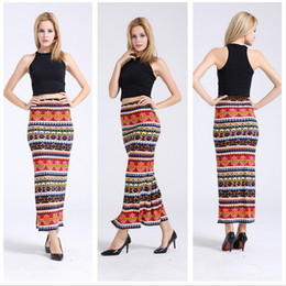 Wholesale Sxey Women - 2016 New Fashion Women Clothes Retro Ethnic Red Printed Aztec Tilde Skirts High Waist Sxey Maxi Skirt Slim Long Women Skirts