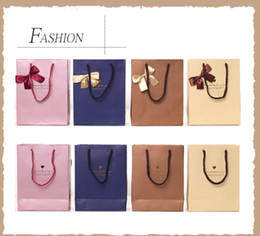 Wholesale Gift Bag Supplies - 13*15*7cm Noble Color Bowknot Paper Gift Bag Business Gift Favors Wrapping Bag Festive Gift Package Party Supplies 20pcs lot WS084
