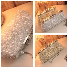 Wholesale Evening Formal Clutch Bags - Elegant White Ivory Full Pearls Beaded Bridal Wedding Hand Bags One Shoulder Clutch Bags Evening Prom Party Formal Party Bags Top Sale
