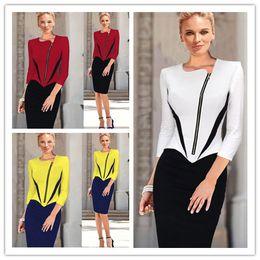 Wholesale Red Ol Women Dress - New Celebrity Dress Spring Summer Casual Zipper White Yellow red OL Pencil Dresses Women Bodycon Dress Plus Size Midi Top