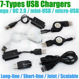 Wholesale g battery charger - Wholesale-electronic cigarette Charger USB DC 2.0 ego mini USB micro USB Scalable passthrough A TYPE MALE TO 2.5mm DC2.0 for g Battery