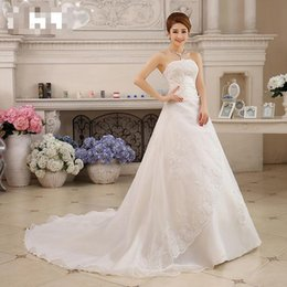 Wholesale Korean Gown For Wedding - Custom Made 2015 New Spring And Summer The Bride Cathedral  Royal Train Wedding Dress For Pregnant High Waist Lace Korean Style Bride Dress