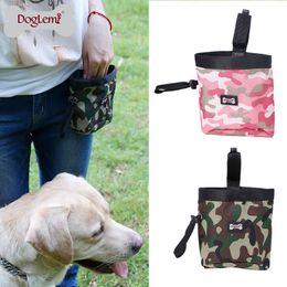 Sacchetti di spazzatura per cani online-Multi Function Dog Snack Borse Oxford Camouflage tessuto Pet sacchetto di addestramento con cerniera sul Pocket Puppy Garbage Bag impermeabile 15dr B
